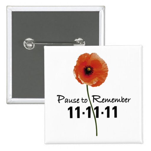 Pause To Remember Remembrance Day Button
