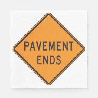 Pavement Ends Road Sign Paper Napkins