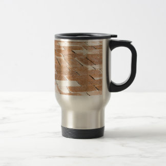 Pavement of brown tiles - close up view travel mug