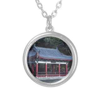 Pavilion, Lake Ronghu, Guilin, China Silver Plated Necklace