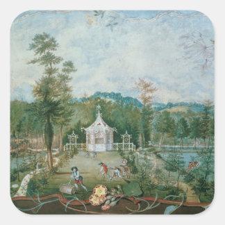 Pavillon chinois dans un jardin anglais, 18ème sticker carré