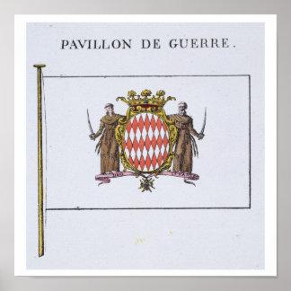 Pavillon de Guerre, détail des drapeaux du Monaco