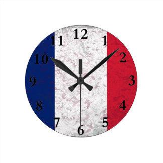 Pavillon de la France  Flag of France Round Clock