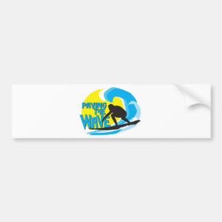 Paving the Wave stand up surfer, bumper sticker