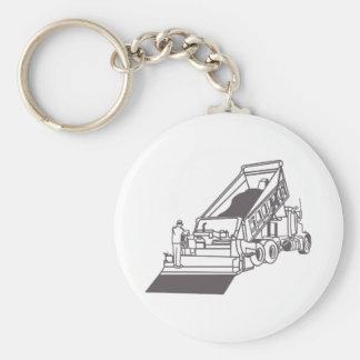 Paving Truck Outline Basic Round Button Keychain