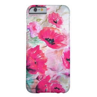 Pavots roses d'aquarelle coque iPhone 6 barely there