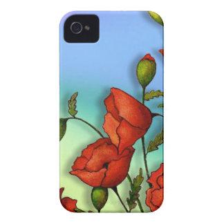 Pavots rouges sur l'arrière - plan multicolore : étui iPhone 4