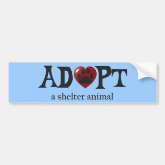 Paw in Red Heart Shelter Animal Bumper Sticker