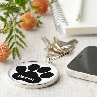 Paw monogram Silver-Colored round keychain