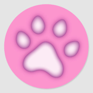 Paw or pawprint stickers, pink and purple classic round sticker