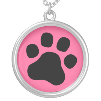 Paw Print - Black / Pink (any color) necklace