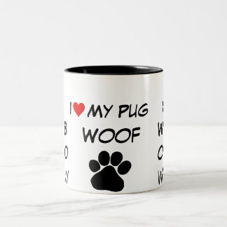 paw print, bow wow I heart my dog Two-Tone Coffee Mug
