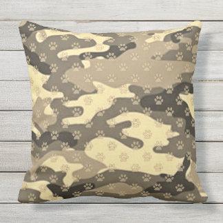 Paw Print Camo Outdoor Pillow