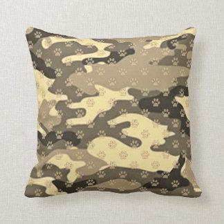 Paw Print Camo Throw Pillow