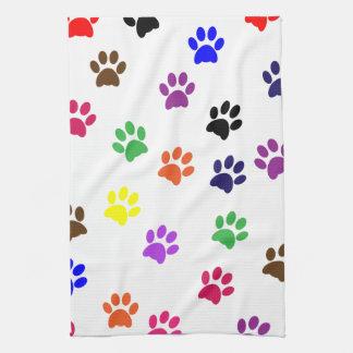 Paw print cat pet colorful fun pawprints, tracks kitchen towel