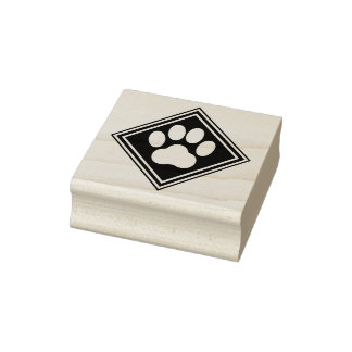 Paw Print Crest Rubber Stamp