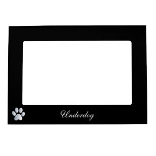 Paw print custom dogs name initial U black Magnetic Picture Frame