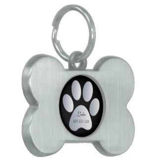 Paw Print custom name & phone no. pet dog id tag