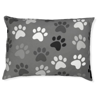 Paw Print Design Monochrome Pet Bed