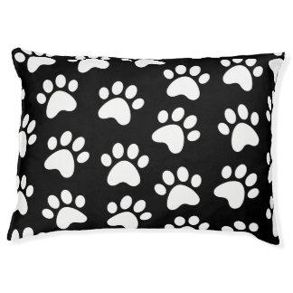 Paw Print Design White on Black Pet Bed
