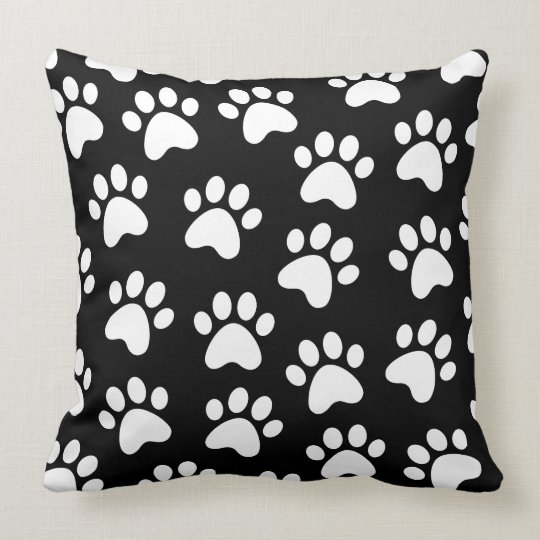 Paw Print Design White on Black Throw Pillow