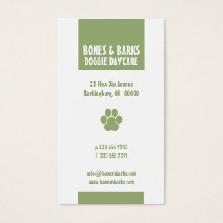 Paw Print Dog Care Olive Business Card