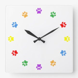 Paw print dog, pet, cat colorful fun wall clock