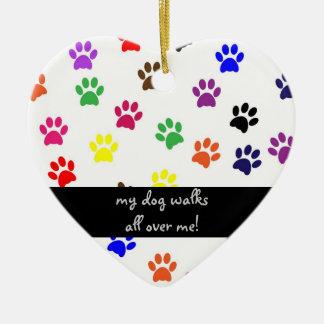 Paw print dog pet colorful fun heart ornament