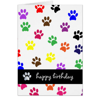 Paw print dog pet colorful happy birthday card