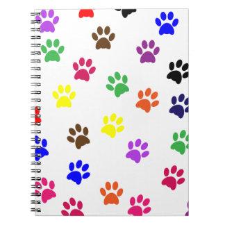 Paw print dog pet fun colorful notebook