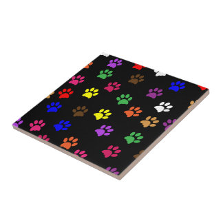 Paw print dog pet fun colorful tile or trivet