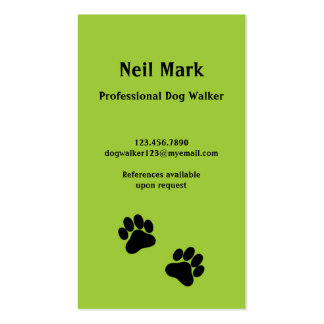 Paw Print Dog Walker in Green Business Card Templates