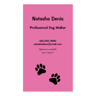 Paw Print Dog Walker in Pink Pack Of Standard Business Cards