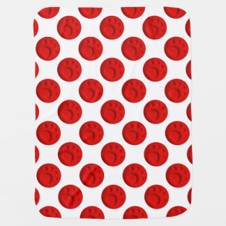 Paw Print Dot - Red Baby Blanket