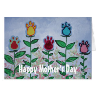 Paw Print Flowers Card