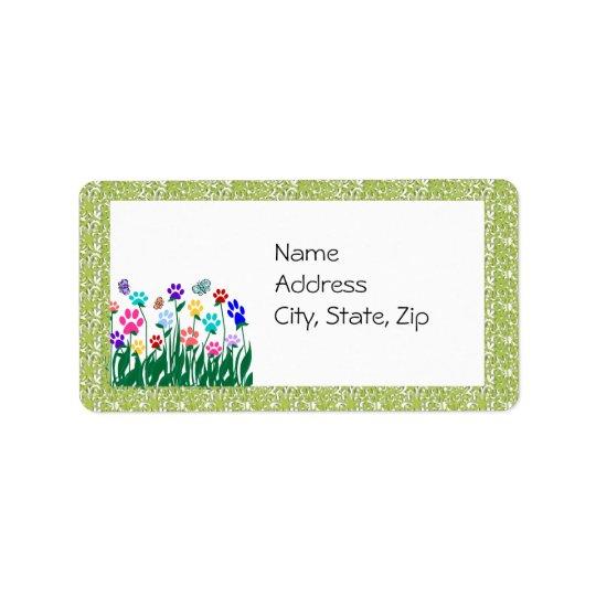 Paw Print Garden  Address Label