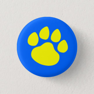 Paw Print Gold on Blue 1 Inch Round Button