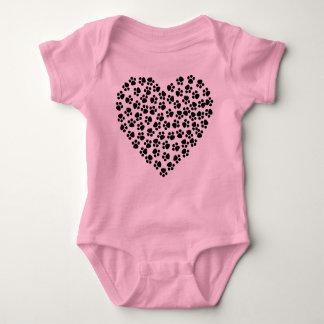 Paw print heart baby vest baby bodysuit