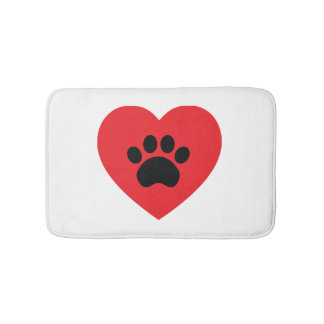 Paw Print Heart Bath Mat