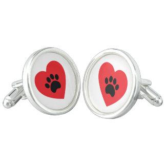 Paw Print Heart Cufflinks