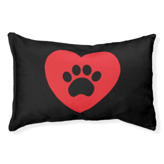 Paw Print Heart Dog Bed Small Dog Bed