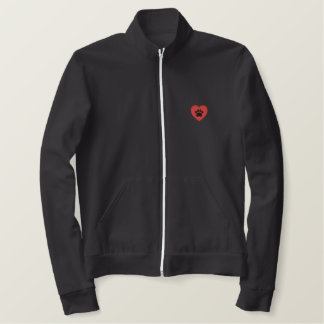 Paw Print Heart Embroidered Embroidered Jacket