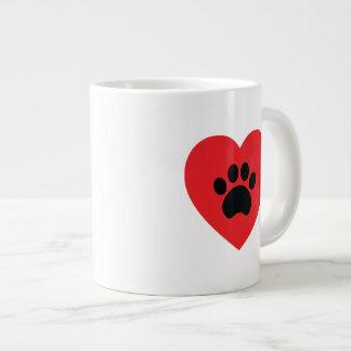 Paw Print Heart Jumbo Mug