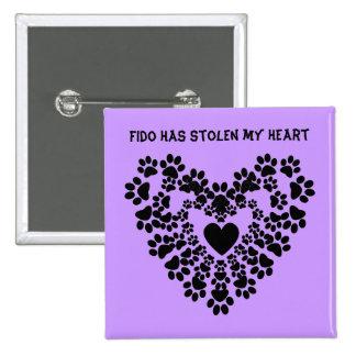 paw print heart pin