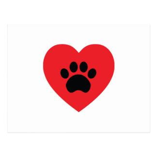 Paw Print Heart Postcard
