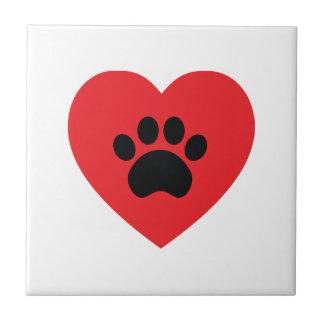 Paw Print Heart Tile