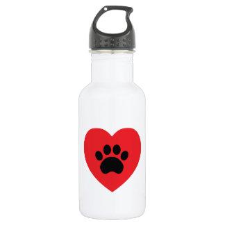 Paw Print Heart Water Bottle