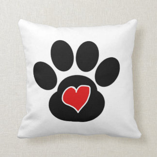 paw print heart why we rescue pillow