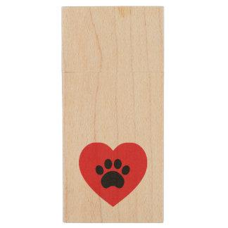 Paw Print Heart Wood USB Drive Wood USB 2.0 Flash Drive