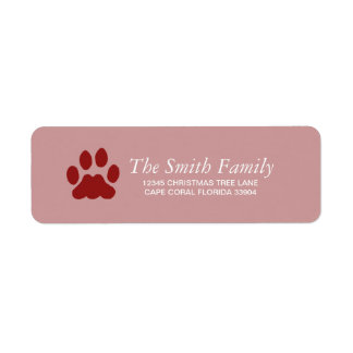 PAW PRINT HOLIDAY RETURN ADDRESS LABEL